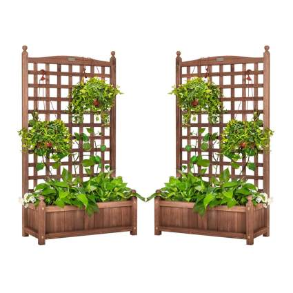 raised planter boxes with trellis