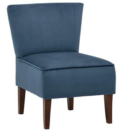 Rivet Ashworth Armless Velvet Navy Accent Chair