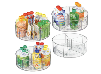 mDesign Divided Lazy Susan Turntable Storage Containers