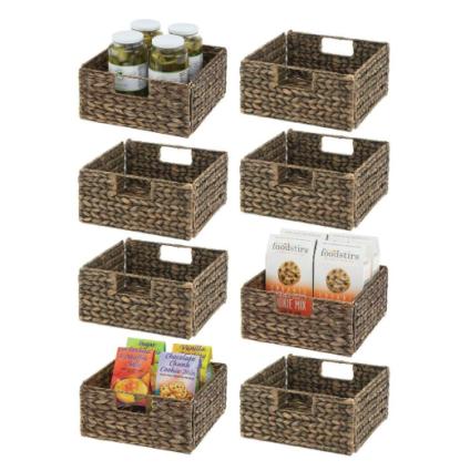 mDesign Woven Hyacinth Farmhouse Kitchen Storage Organizer Basket Bin
