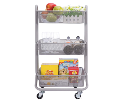 DESIGNA 3-Tier Rolling Utility Cart Storage Shelves