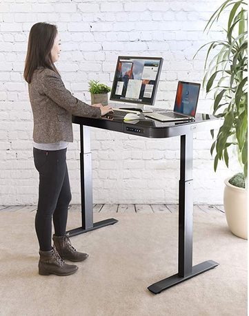 Seville Classics Tempered Glass Electric Standing Desk