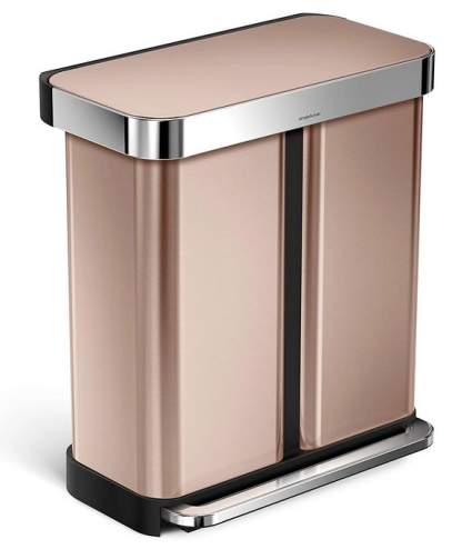 simplehuman Rectangular Hands-Free Dual Compartment Trash Can