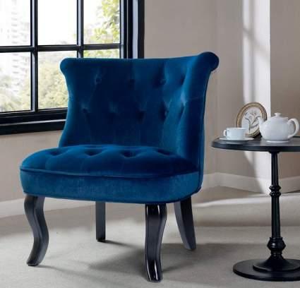 Tina's Home Navy Blue Upholstered Velvet Armless Chair