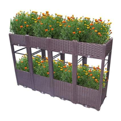 two tier plastic rattan raised planter boxes
