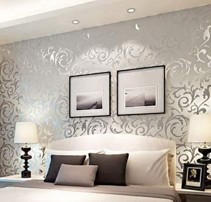3D Damask Silver Flower Pattern Wallpaper