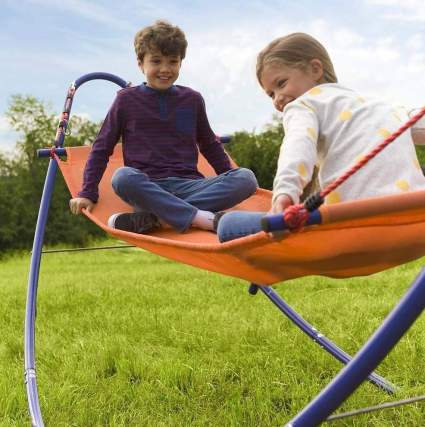 HearthSong Rockin' 2-in-1 Kids' Adjustable Outdoor Rocking Hammock