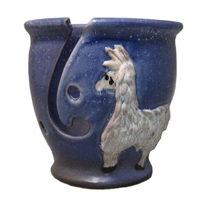 Blue ceramic bowl with alpaca
