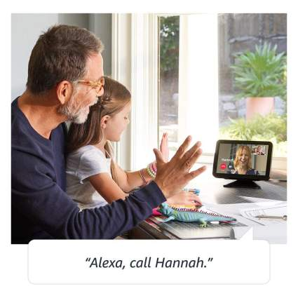 Father and daughter on video call