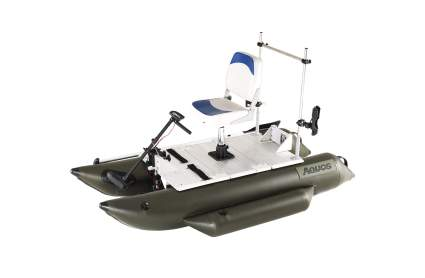 AQUOS Heavy-Duty 7.5 ft Inflatable Pontoon Boat with Grab Bar, Folding Seat and Trolling Motor