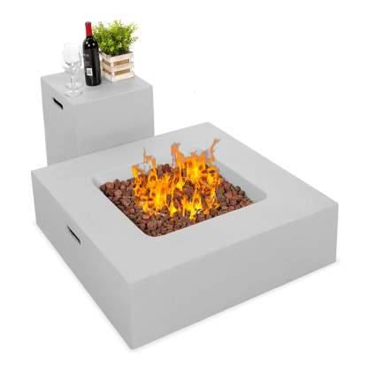 square gas fire pit and side table