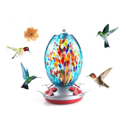 blown glass hummingbird feeder