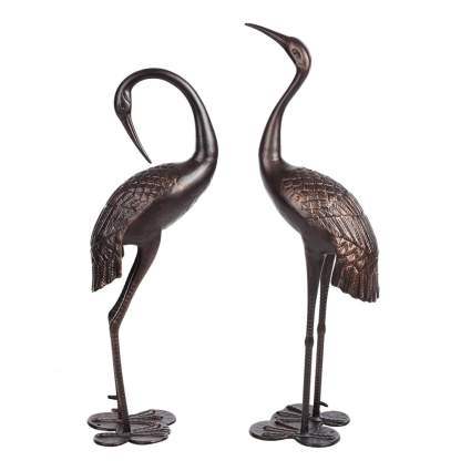 bronze heron metal garden sculptures