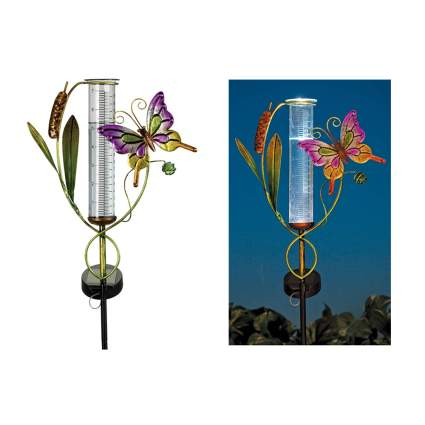 butterfly rain guage with solar light