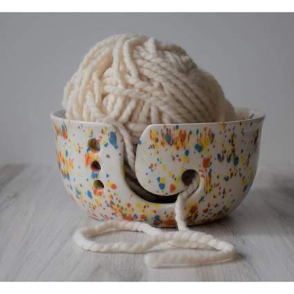 Speckled bowl full of yarn