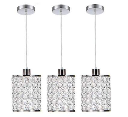 Cualans 3-Pack Chrome Crystal Adjustable Pendant Lighting