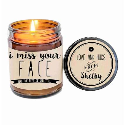 I miss your face candle