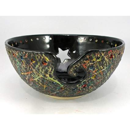 Black spattered ceramic knitting bowl