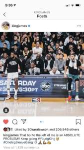 LeBron James post on Instagram about Jayson Tatum