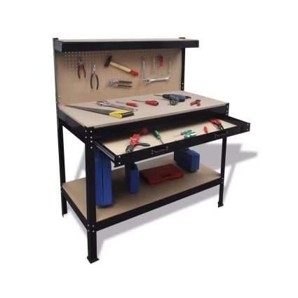 Festnight Steel Workbench with Pegboard Storage Shelf