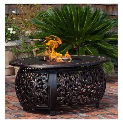 bronze finish cast aluminum gas fire pit