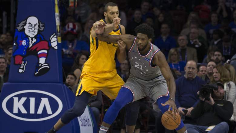 Rudy Gobert, left, and Joel Embiid, right