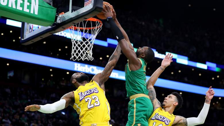 Jaylen Brown dunks on Lakers star LeBron James (23)