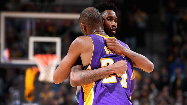 Lakers guard Kobe Bryant hugs Denver guard Will Barton after holding him to 2 second-half points in December 2015