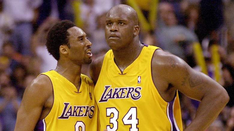 Kobe Bryant, left, and Shaquille O'Neal in 2001