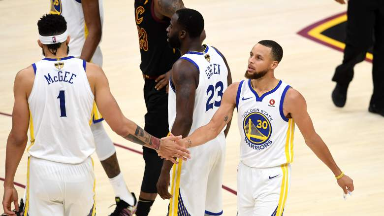 JaVale McGee, left, and Steph Curry, as teammates in 2018
