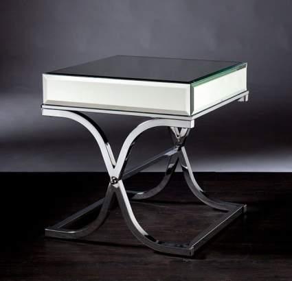 Holly & Martin Ava Mirror End Table with Chrome Frame