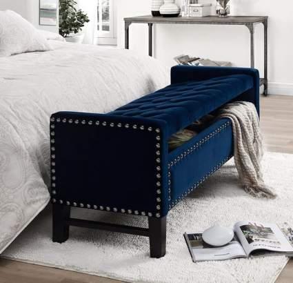 Inspired Home Columbus Velvet Storage Bench