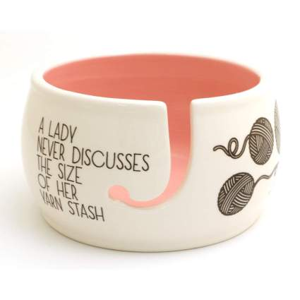 Pink and white knitting bowl