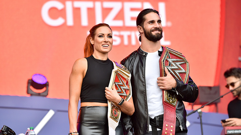 WWE Champions Becky Lynch and Seth Rollins