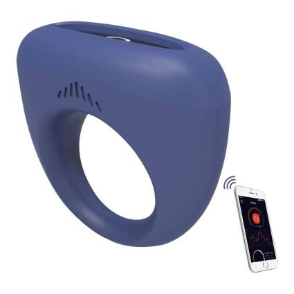 Blue vibrating ring with smartphone