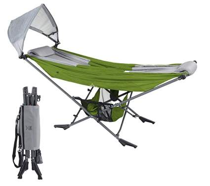 Mock One Portable Folding Hammock with Sun Shade