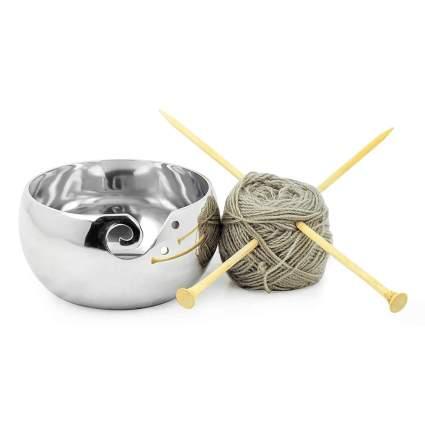 Polished metal yarn crafting bowl