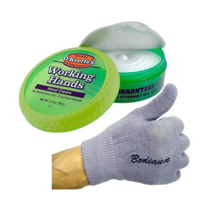 hand cream and hand repair gloves