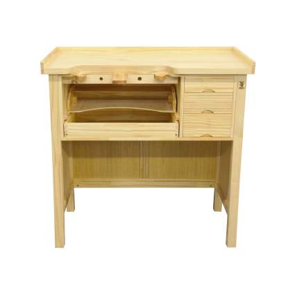 PMC Supplies LLC Deluxe Solid Wooden Jewelers Workbench Station