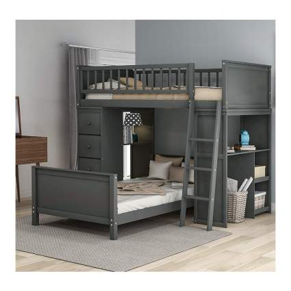 twin over twin bed with storage