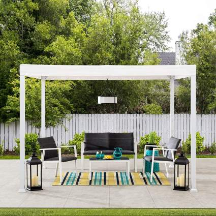 Sunjoy A106005700 Reese 10x10 ft. Modern Steel Pergola with Flat Top Canopy