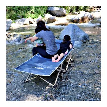 blue camping cot