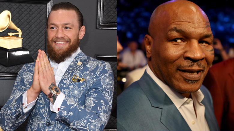 On the left is Conor McGregor and on the right Mike Tyson