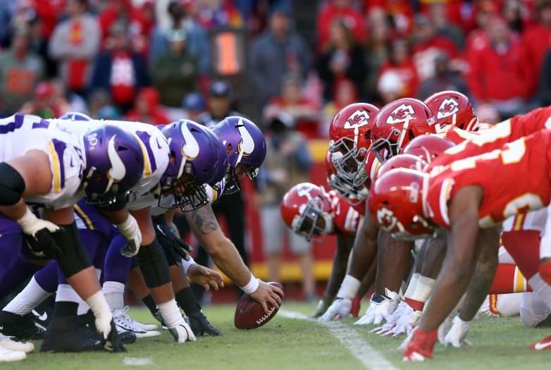 Minnesota Vikings offensive line against Kansas City