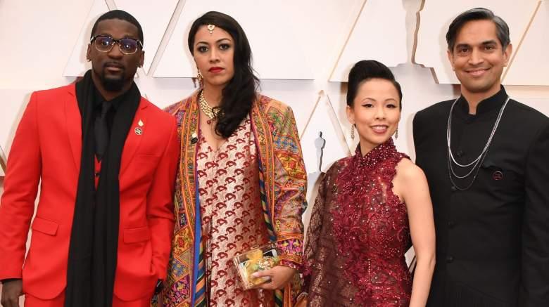 US filmmaker Sami Khan (R), US producer Smriti Mundhra (2nd L), producer Poh Si-Teng and Bruce Franks Jr. arrive for the 92nd Oscars.