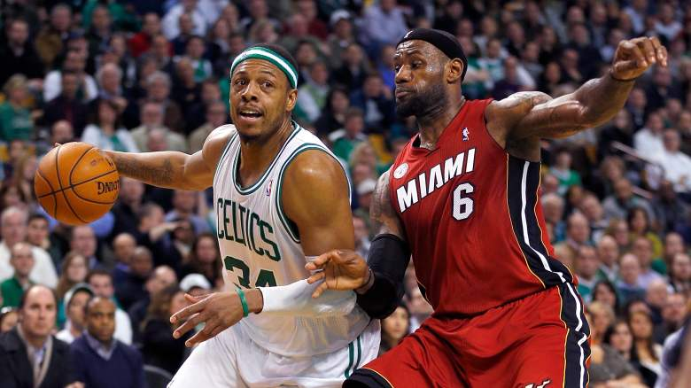 Paul Pierce, left, and longtime rival LeBron James
