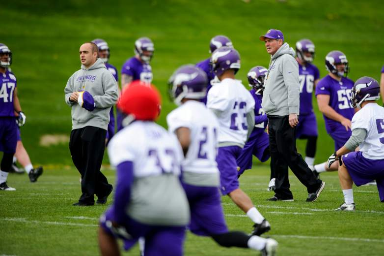 Minnesota Vikings coach Mike Zimmer at rookie minicamps in 2014