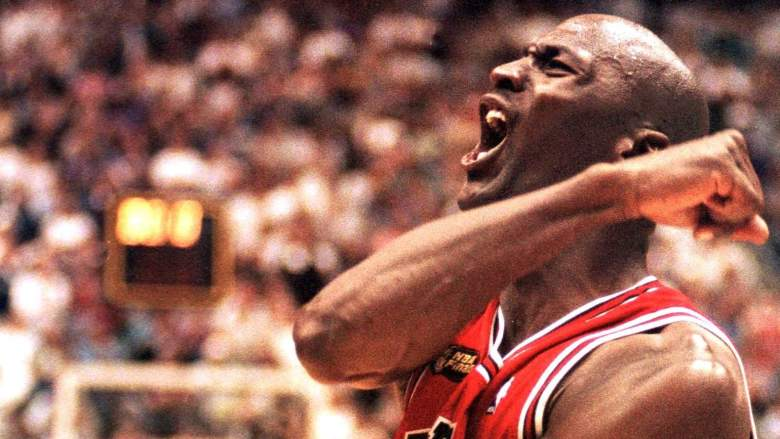 Michael Jordan after beating the Jazz in the 1998 NBA Finals