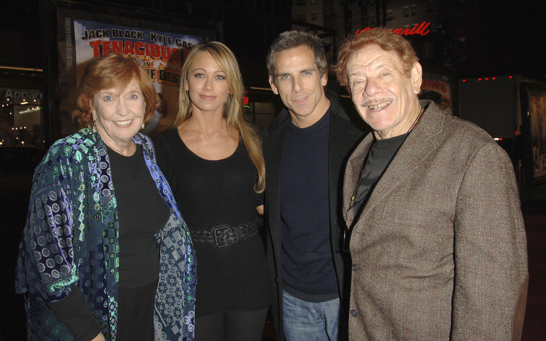 Anne Meara, Christine Taylor, Ben Stiller and Jerry Stiller