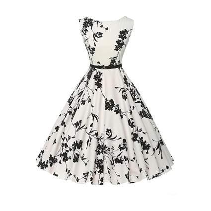 Black and white vintage tea dress